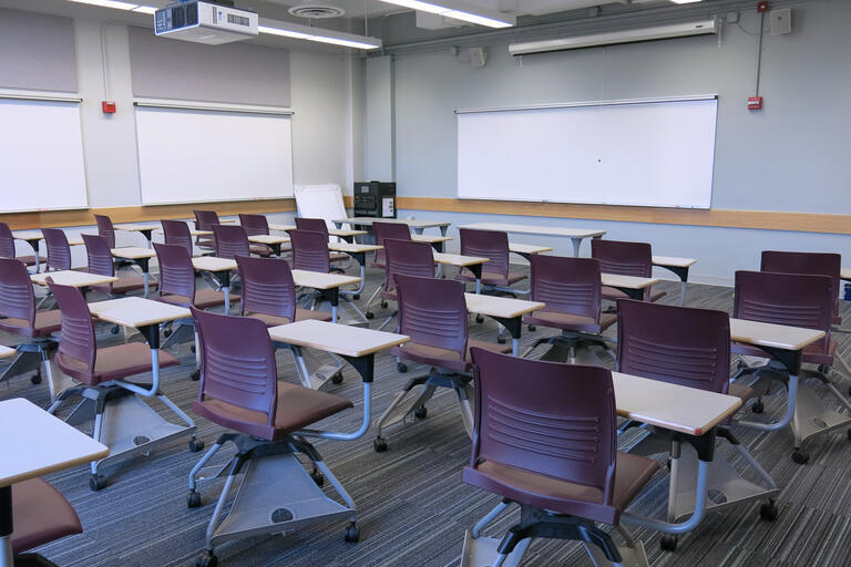 Etcheverry 3119 has 35 movable desks. The AV rack/blackbox is in the front of the classroom by the main whiteboard with two additional whiteboards on the adjacent wall. There are one projector screen that covers half of the main whiteboard.