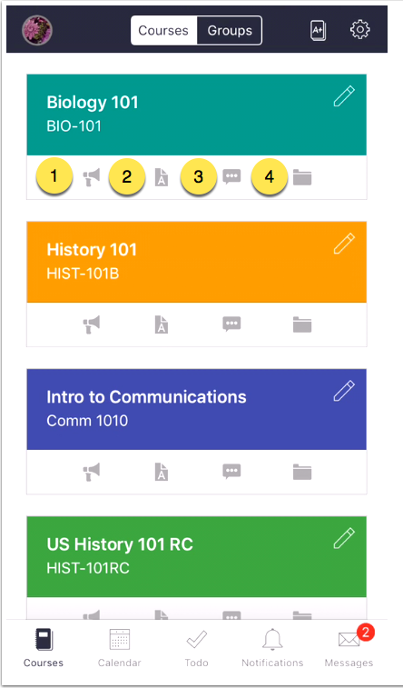 Screenshot of Courses Page on the Canvas iOS app
